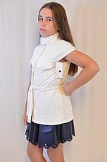 Красивая нарядная трикотажная белая кофта-жилетка для девочки дешево., фото 2