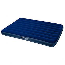 Надувной полуторный велюровый матрас Intex 137x191x25 см, синий