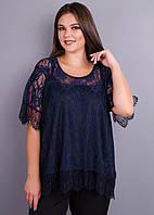 Квитка. Гипюровая блуза больших размеров. Синий., фото 1