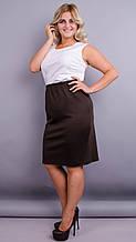 Пион. Трикотажная юбка больших размеров. Шоколад.
