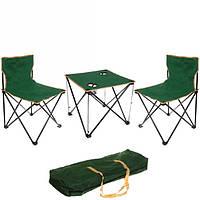 Набор складной мебели кемпинговый стол и 2 стула в чехле Зеленый Kronos 180066 (CBT180066)