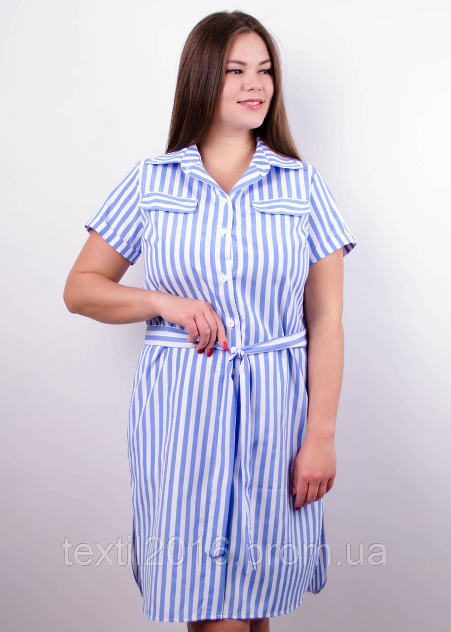 Ірина. Сукня-сорочка великих розмірів. Блакитна смуга.