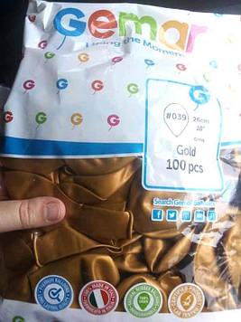 """Шар воздушный GM90 #039 золото металлик 10"""" 26см, 100шт Gemar"""
