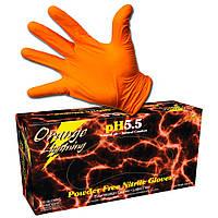Нітрилові рукавички помаранчеві 100 шт, розмір L