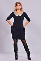 Красивое черное платье с ажурным воротником