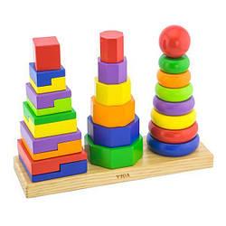 Деревянная детская пирамидка Viga Toys, 25 деталей