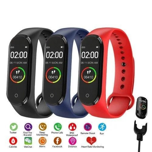 Смарт-Часы сенсорные М4 сенсорный фитнес-браслет, аналог mi band 4