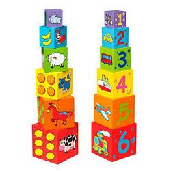 """Набор кубиков из дерева детский Viga Toys """"Пирамидка"""""""