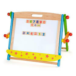 Детская двухсторонняя магнитно-маркерная доска Viga Toys на подставке