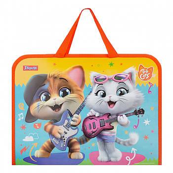 Дитяча папка-портфель на блискавці з тканинними ручками 1Вересня 44 Cats 26х35х3см Різнобарвна (491854)