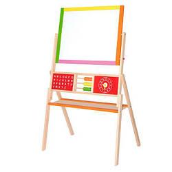 Детский деревянный двусторонний магнитный мольберт Viga Toys для рисования