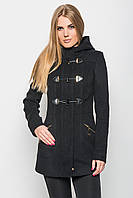 Осеннее приталенное пальто с капюшоном и воротником-стойкой, застегивается на потайную молнию и кнопки черное,