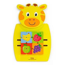 Настенная развивающая игрушка бизиборд головоломка Viga Toys Жираф пазл с фруктами, желтый