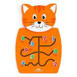 Настенная деревянная игрушка бизиборд головоломка (методика Монтессори) Viga Toys Кот с цифрами, оранжевый