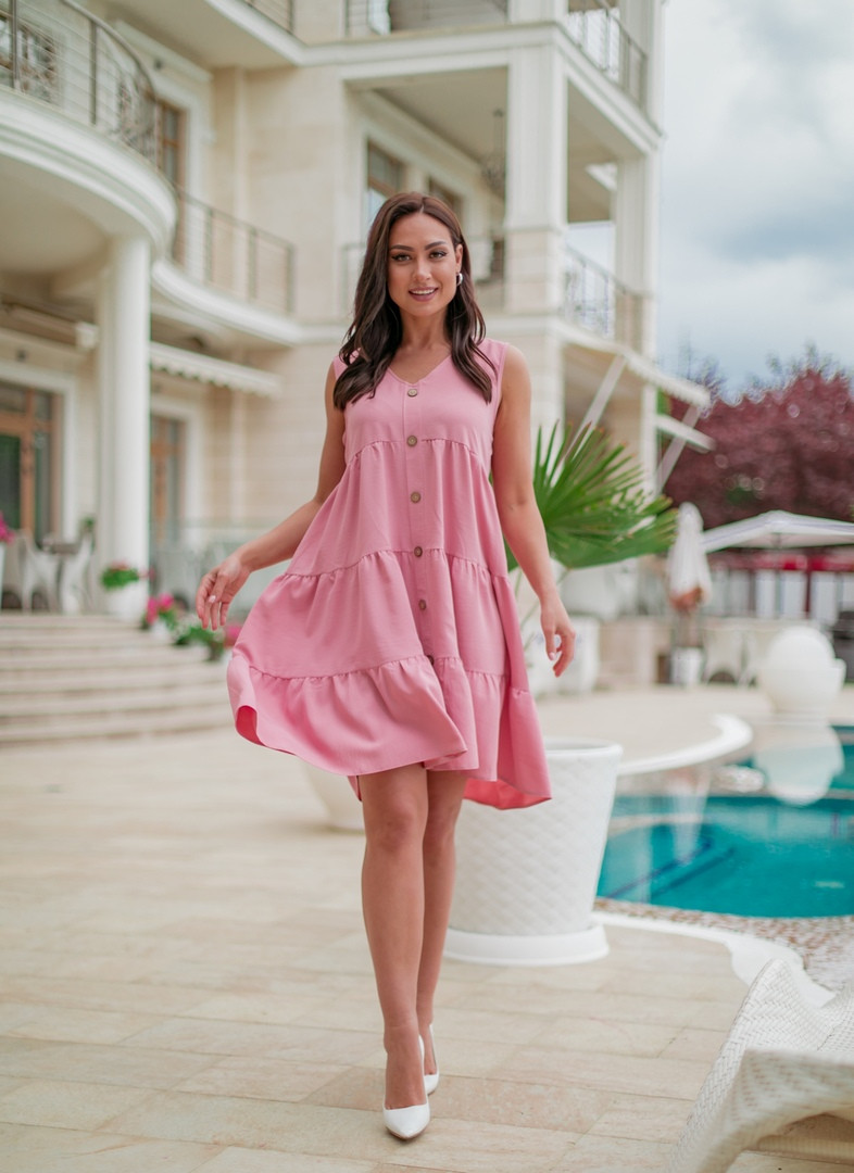 Женское платье халат на пуговицах больших размеров 50-60 пудра