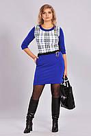 Оригинальное женское синее платье в клеточку