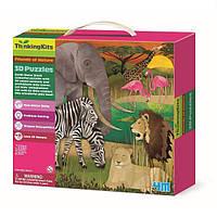"""Развивающий 3D-пазл 4M """"Африка"""" для детей от 4 лет (6 фигурок животных и 9 фрагментов классического пазла)"""