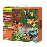 """Развивающий 3D-пазл 4M """"Тропический лес"""" для детей от 4 лет (6 фигурок животных и 9 фрагментов пазла)"""