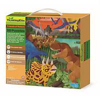 """Развивающий 3D-пазл 4M """"Динозавры"""" для детей от 4 лет(6 фигурок динозавров и 9 фрагментов классического пазла)"""