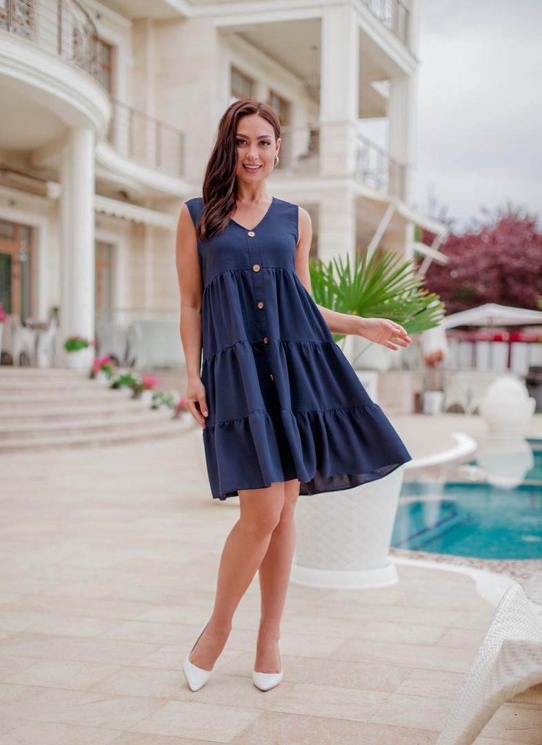 Женское платье халат на пуговицах больших размеров 50-60 синее