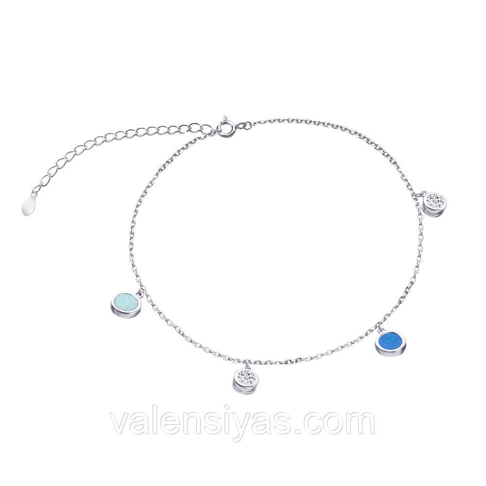 Срібний браслет з опалами і фіанітами