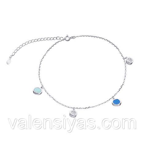 Срібний браслет з опалами і фіанітами, фото 2