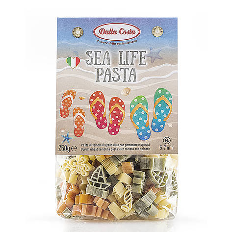 Макарони DALLA COSTA Sea Life pasta з томатом і шпинатом 250 г, фото 2