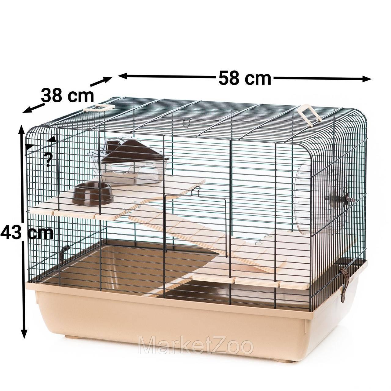 """Клетка Interzoo """"Rex 2"""" для крыс,хомяков или дегу, Размеры: 580*380*340 мм."""