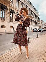 Стильное женское платье цветочный принт,горошек