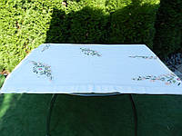 Скатертина з ромашковим мотивом та гачкованим мереживом, фото 1