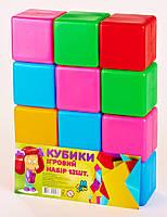 """Игровой набор детский кубики """"Великі"""" M-Toys, 12 шт, 6,5 х 6,5 см"""