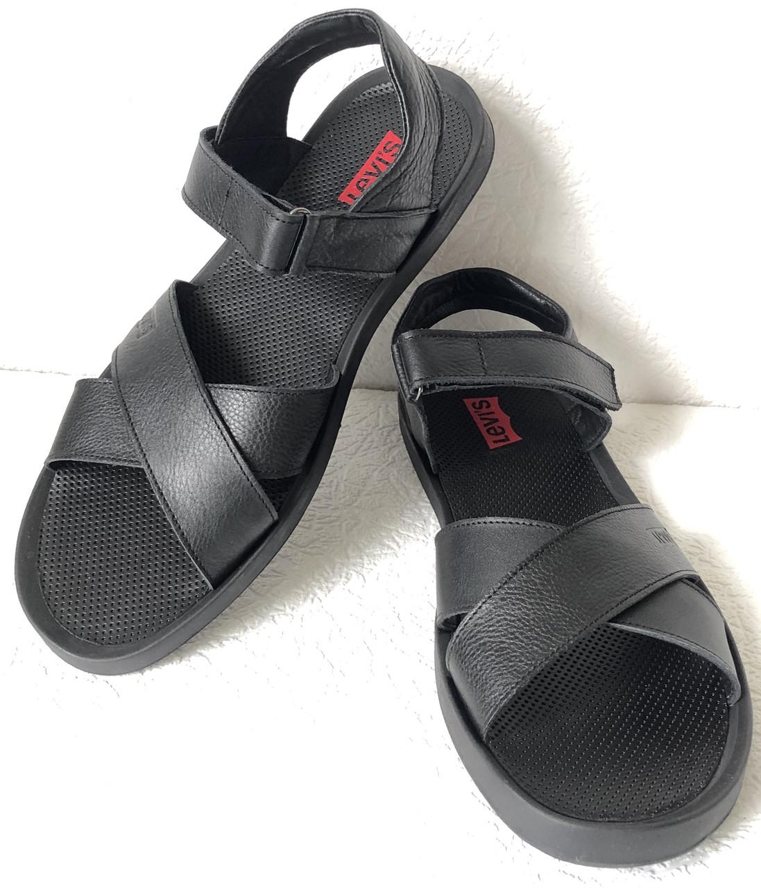 Шок ! Levis летние кожаные сандалии мужские босоножки в стиле Левис черные