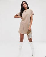 Женское стильное платье ангора бежевое