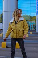 Демисезонная женская куртка чёрная пудра мята желтая С М Л
