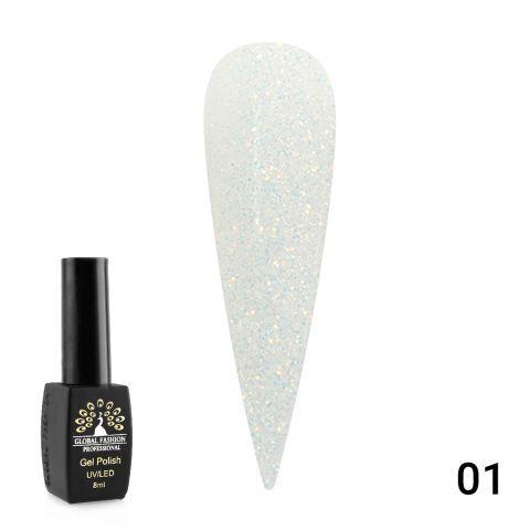 Гель лак OPAL Global Fashion 8мл №01 - прозрачный с золотом