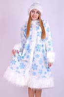 Карнавальный женский костюм снегурочки белая с узором