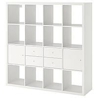 IKEA Стеллаж с 4 вставками, белый, 147x147 см