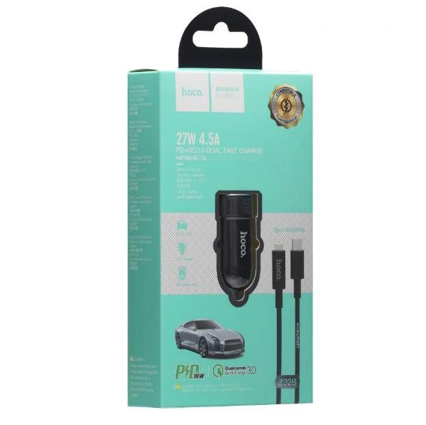 Автомобильное зарядное устройство для телефона Hoco Z32B Speed UP PD+QC3.0 Type-C to Lightning