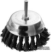 """Щетка чашеобразная Mastertool из плетеной проволоки со стержнем 1/4"""" 65 мм (19-7307)"""