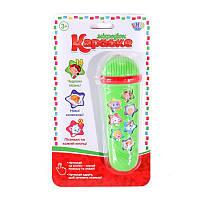 """Дитяча музична іграшка Limo Toy """"Мікрофон Караоке"""" на батарейках (14 пісень на укр.), 15 см, зелений"""