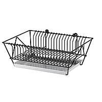 IKEA Сушилка посудная, черный, оцинковка, 37.5x29x13.5 см
