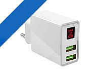 Зарядное Устройство с Дисплеем CX Quick Charge 220V 2 USB LED, фото 1