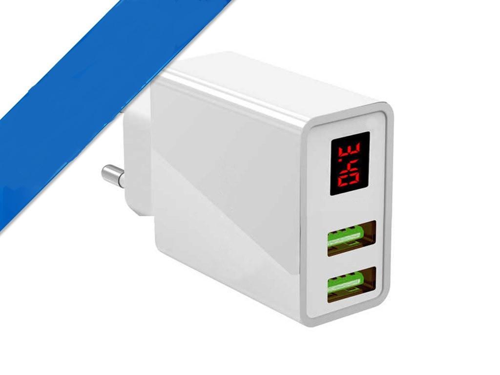 Зарядное Устройство с Дисплеем CX Quick Charge 220V 2 USB LED