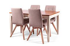 Обеденный комплект/ стол PRAHA + стулья NICE коричневый/белый