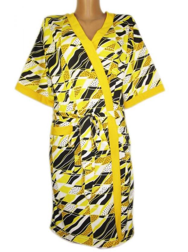 Домашний халат на запах женский больших размеров с карманами, желтый