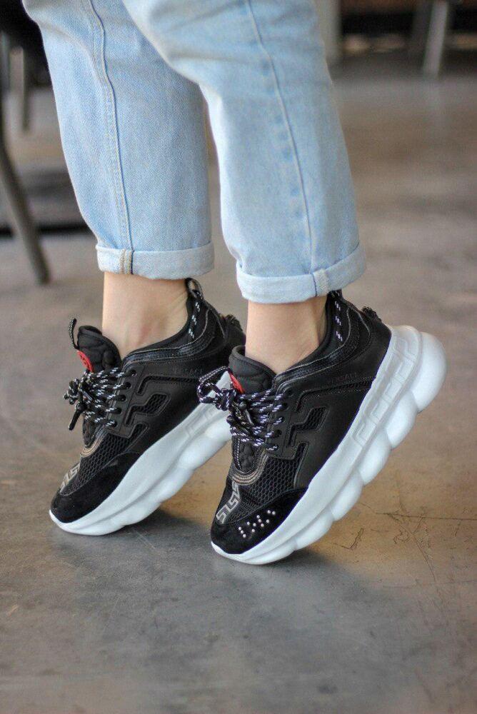 Кроссовки женские в стиле Versace Chain Reaction Sneakers BLACK (Реплика ААА+)