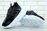 Кроссовки женские в стиле Versace Chain Reaction Sneakers BLACK (Реплика ААА+), фото 5
