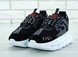 Кроссовки женские в стиле Versace Chain Reaction Sneakers BLACK (Реплика ААА+), фото 3