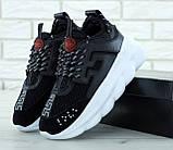 Кроссовки женские в стиле Versace Chain Reaction Sneakers BLACK (Реплика ААА+), фото 6