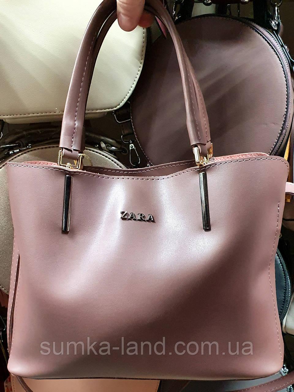 Женская сиреневая сумка Zara из эко-кожи на 3 отделения 30*22 см
